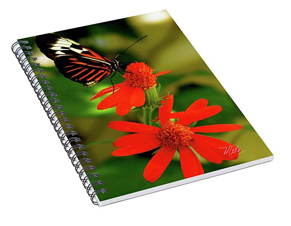 Butterfly On Red Flower Spiral Notebook