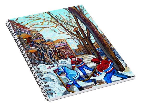 Canadian Art Street Hockey Game Verdun Montreal Memories Winter City Scene Paintings Carole Spandau Spiral Notebook