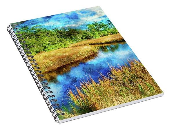 Canals Bend Digital Watercolor Spiral Notebook