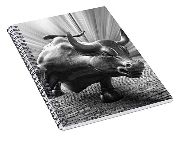 Charging Wall Street Bull B W Spiral Notebook