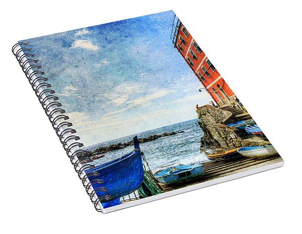 Cinque Terre - Little Port Of Riomaggiore - Vintage Version Spiral Notebook