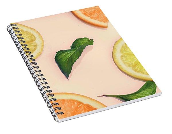 Citrus Pattern On Retro Pink Background Spiral Notebook