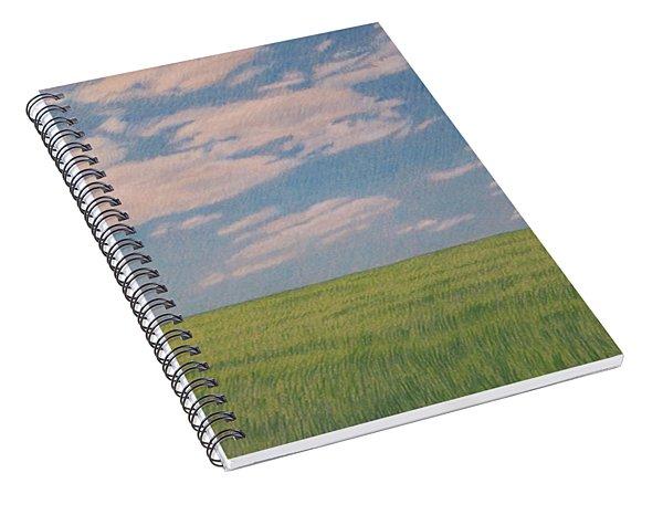 Clouds Over Green Field Spiral Notebook