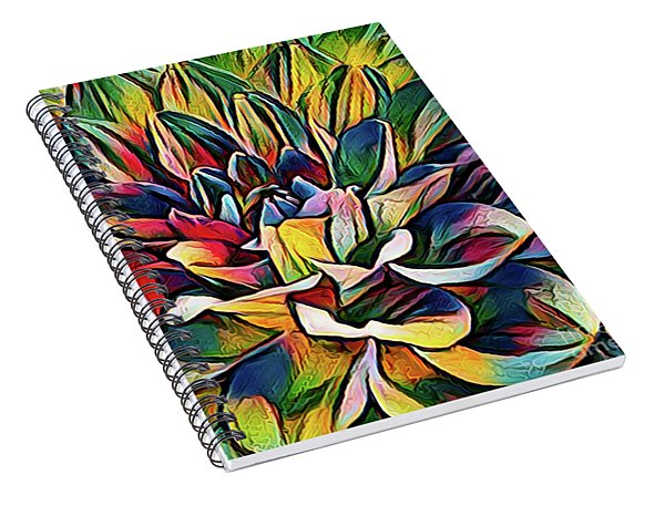 Colorful Abstract Dahlia Spiral Notebook