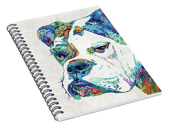 Colorful English Bulldog Art By Sharon Cummings Spiral Notebook