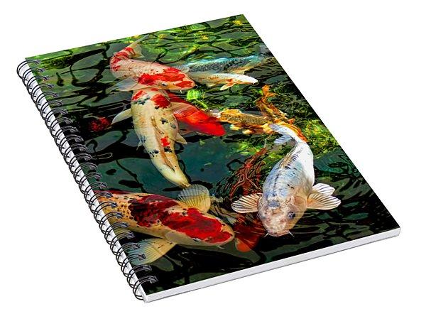 Colorful  Japanese Koi Fish Spiral Notebook