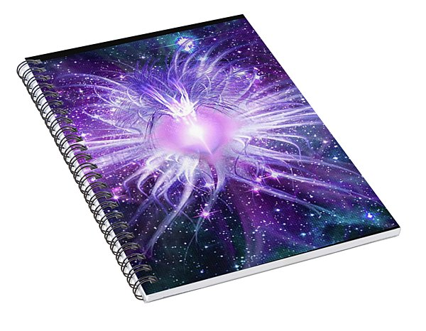 Spiral Notebook featuring the mixed media Cosmic Heart Of The Universe Mosaic by Shawn Dall