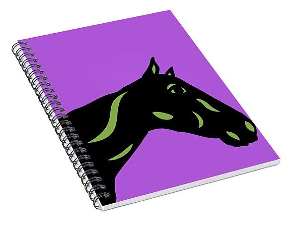 Crimson - Pop Art Horse - Black, Greenery, Purple Spiral Notebook