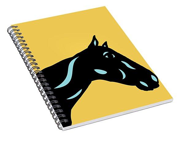 Crimson - Pop Art Horse - Black, Island Paradise Blue, Primrose Yellow Spiral Notebook