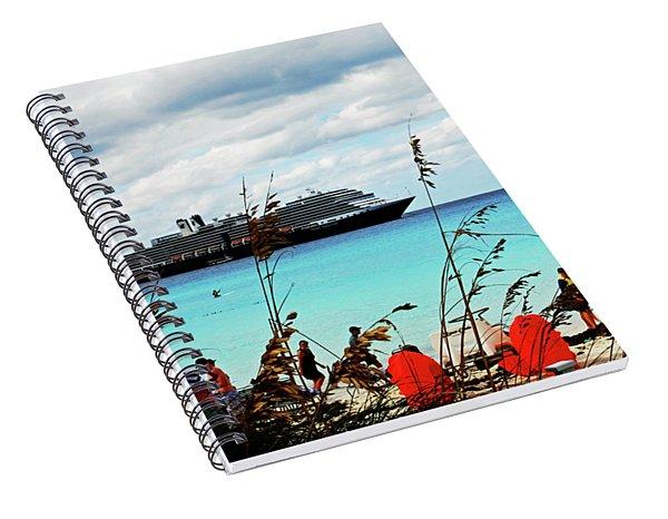 Cruise Ship At Half Mon Cay Spiral Notebook