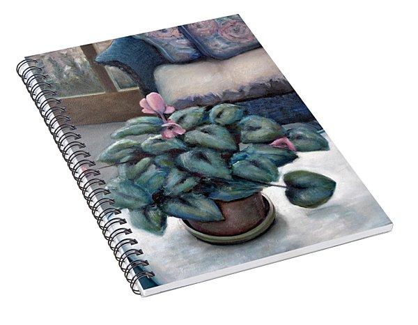 Cyclamen And Wicker Spiral Notebook
