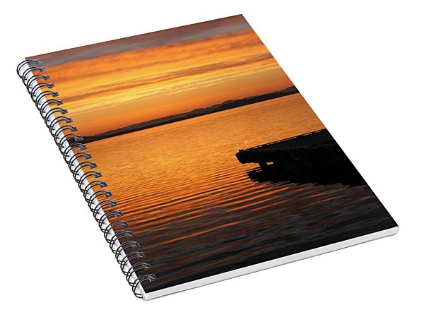 Dawn On The Water At Dusavik Spiral Notebook
