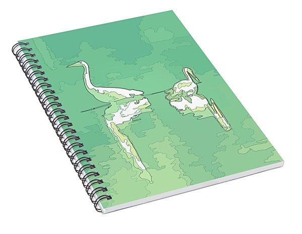Abstract Herons Deep Green Spiral Notebook