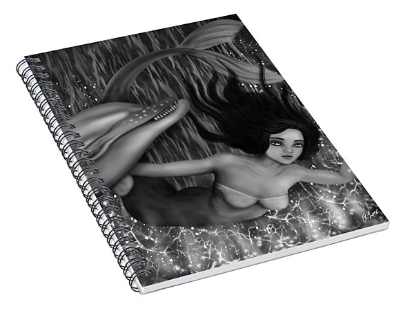 Deep Sea Mermaid - Black And White Fantasy Art Spiral Notebook