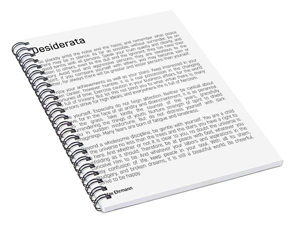 Desiderata #minimalism Spiral Notebook