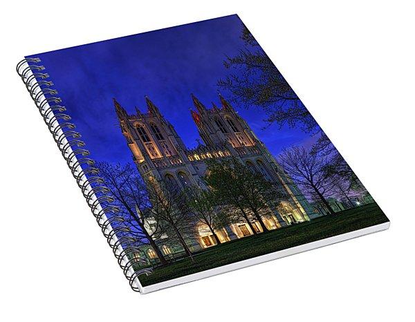 Digital Liquid - Washington National Cathedral After Sunset Spiral Notebook
