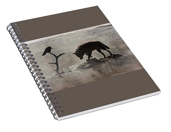 Druid Wolf And Raven Silhouette Spiral Notebook