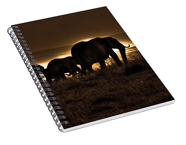 Elephant Herd On The Masai Mara Spiral Notebook
