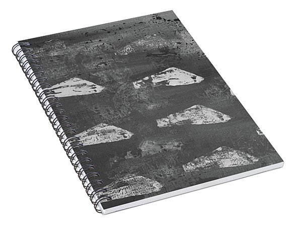 Spiral Notebook featuring the painting Eoliths Grayscale by Robin Maria Pedrero