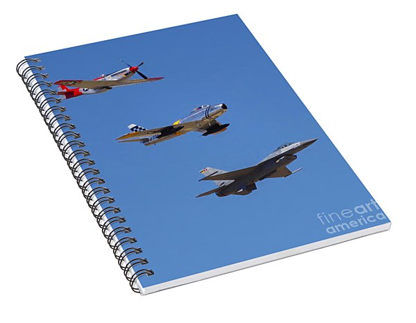 F-16 P-51d F-86 Heritage Flight- Flyby Spiral Notebook