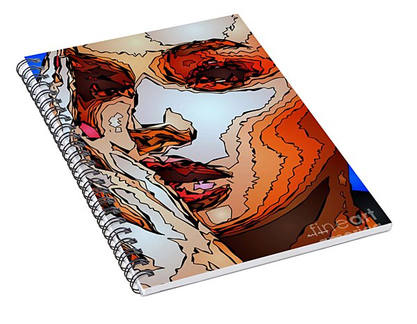 Spiral Notebook featuring the digital art Female Expressions Viii by Rafael Salazar