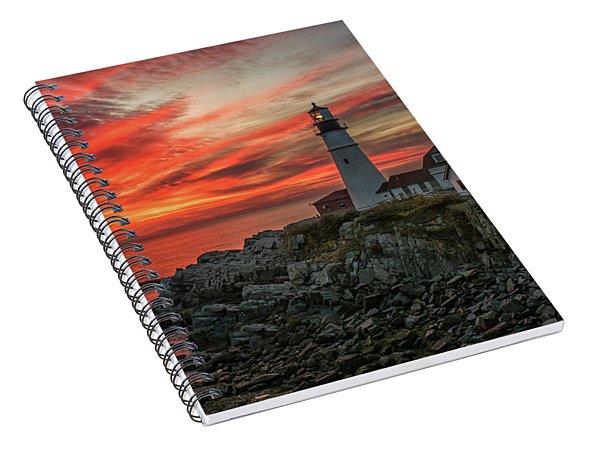 Fiery Sunrise At Portland Head Light Spiral Notebook