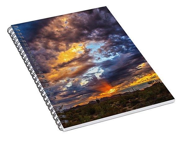 Finger Painted Sunset Spiral Notebook