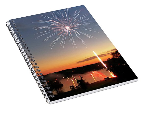 Fireworks And Sunset Spiral Notebook