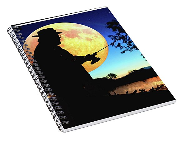 Fisherman In The Moolight Spiral Notebook