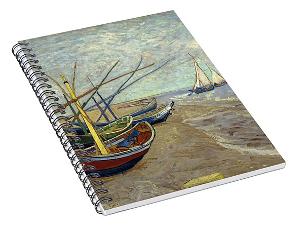 Spiral Notebook featuring the painting Fishing Boats On The Beach by Van Gogh