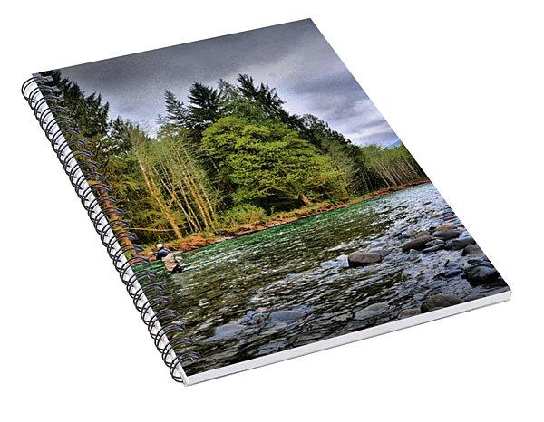 Fishing The Run Spiral Notebook