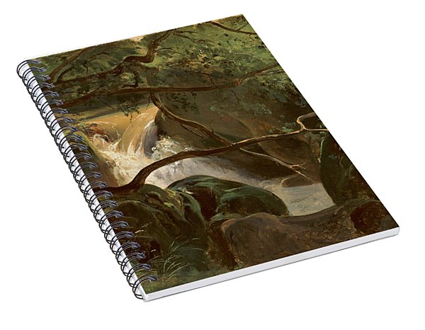 Forest Interior With A Waterfall Papigno Spiral Notebook
