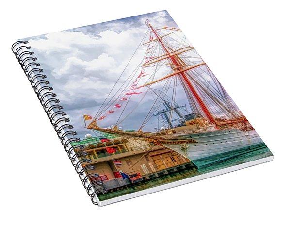 Four Masted Schooner In Port Spiral Notebook