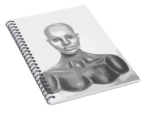 Superficial Bald Woman Art Charcoal Drawing  Spiral Notebook