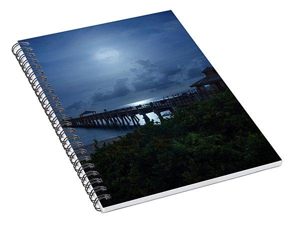 Full Moon Over Juno Beach Pier Spiral Notebook