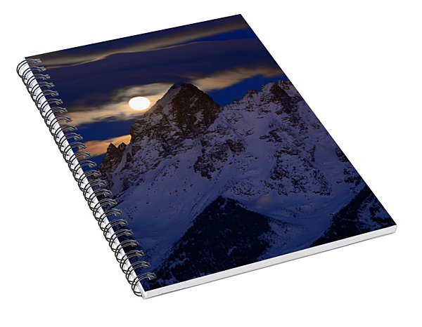 Full Moon Sets Over The Grand Teton Spiral Notebook