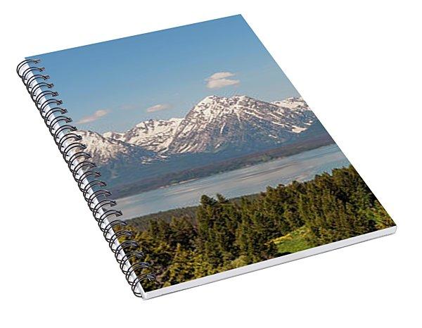 Grand Tetons Over Jackson Lake Panorama Spiral Notebook