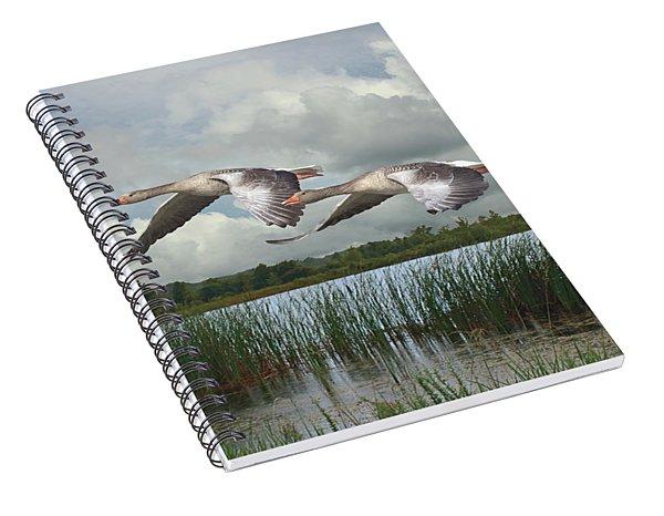 Greylag Geese In Flight Spiral Notebook