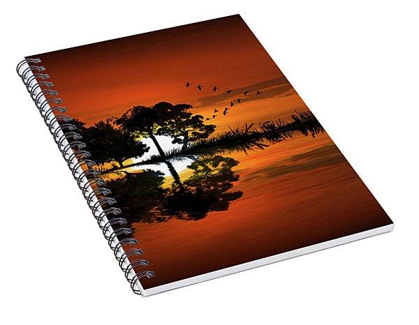 Guitar Landscape At Sunset Spiral Notebook