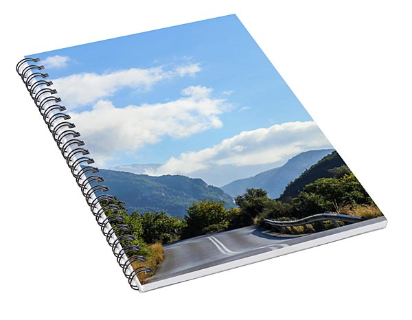Hairpin Curve On Greek Mountain Road Spiral Notebook
