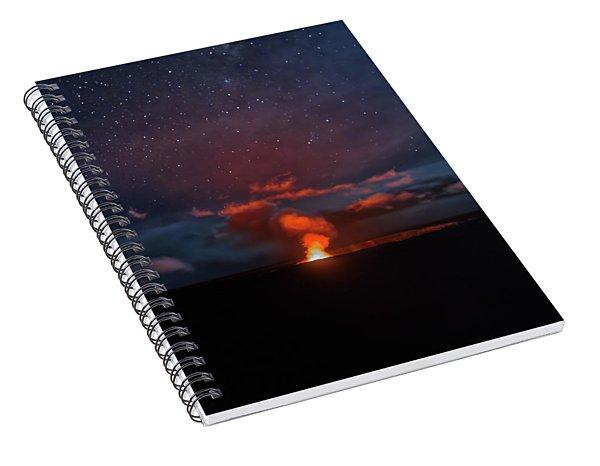 Halemaumau Crater At Night Spiral Notebook