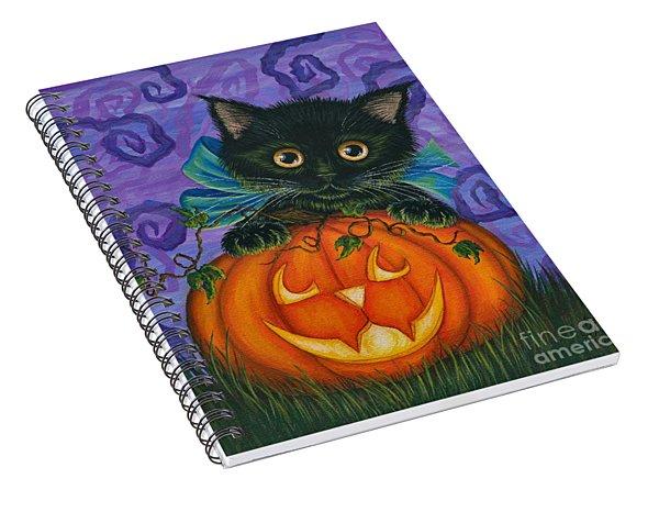 Halloween Black Kitty - Cat And Jackolantern Spiral Notebook