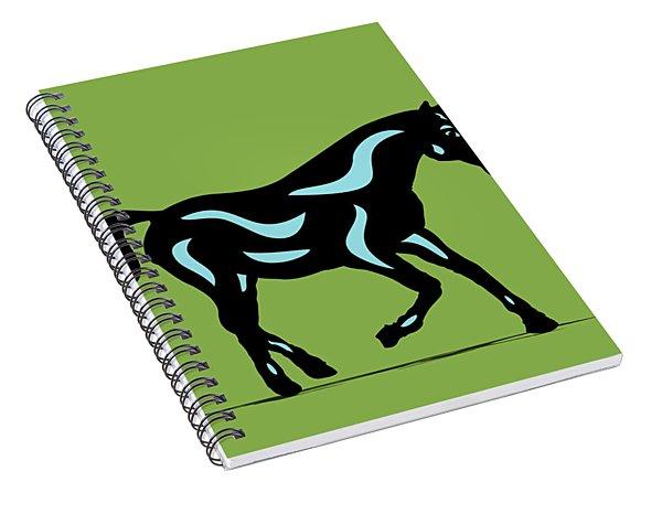 Heinrich - Pop Art Horse - Black, Island Paradise Blue, Greenery Spiral Notebook