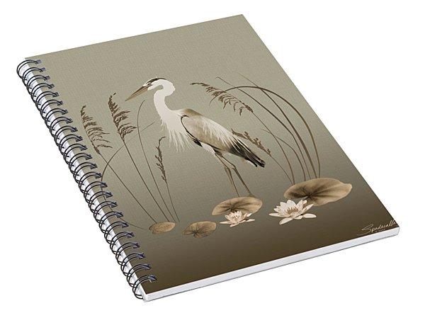 Heron And Lotus Flowers Spiral Notebook