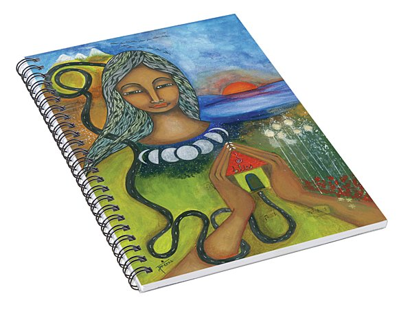 Spiral Notebook featuring the mixed media Home Is Where Your Heart Is by Prerna Poojara