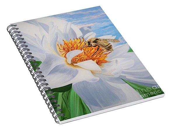 Flygende Lammet Productions     Honey Bee On White Flower Spiral Notebook