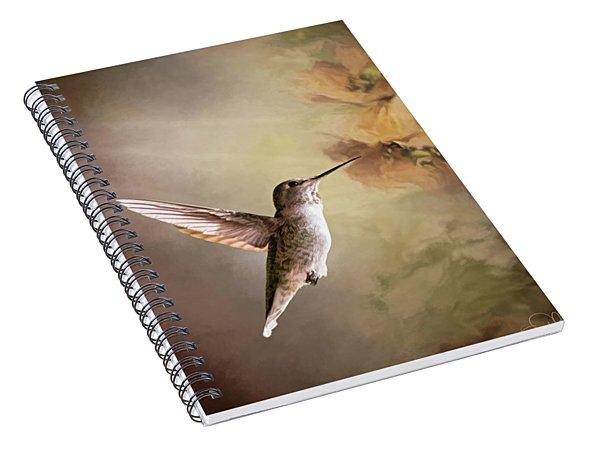 Humming Bird In Light Spiral Notebook