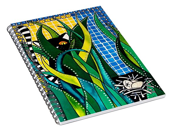 Hunter In Camouflage - Cat Art By Dora Hathazi Mendes Spiral Notebook