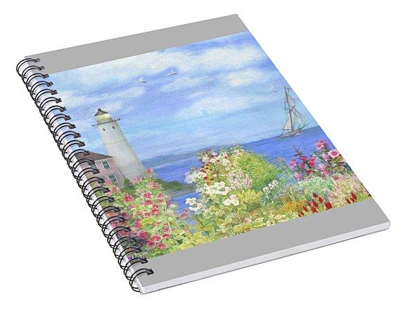 Illustrated Lighthouse By Summer Garden Spiral Notebook