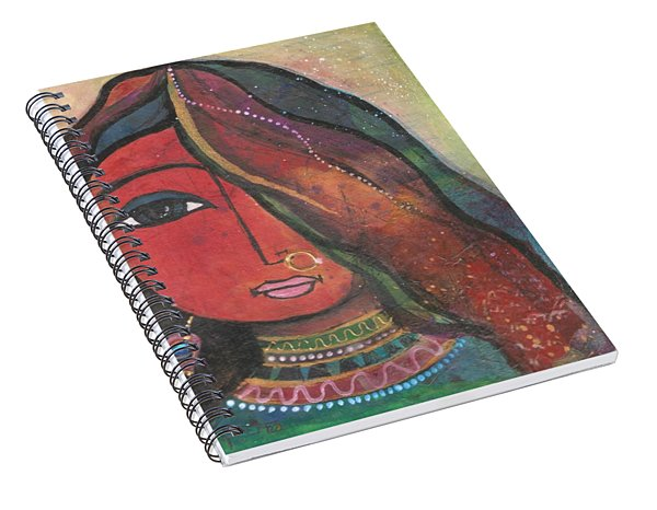Spiral Notebook featuring the mixed media Indian Girl With Nose Ring by Prerna Poojara